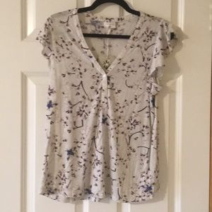 Anna Glover for H&M flutter sleeve cotton blouse